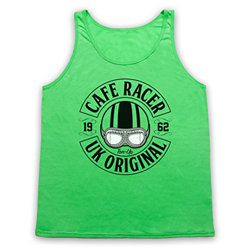 Cafe Racer UK Original Motorcycle Ton Up Tank-Top Weste Neon Grun