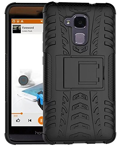 Parallel Universe Huawei Honor 5C Back Cover Case Dual Layer Rugged and Tough Defender with Built-in Stand - Black