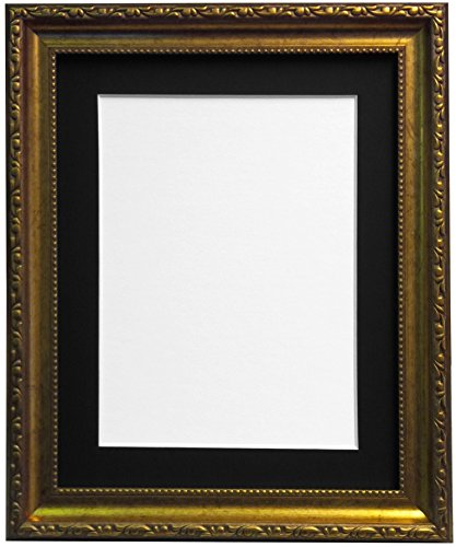 Shabby Chic Bilderrahmen Gold mit Schwarz, Weiß, Elfenbein, Rosa oder Hellblau Halterung, plastik, Black Mount, A2 Bildgröße A3