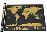 #9: 1 Piece Stationery Store Maps of The Worlds Deluxe Black Scratch off Map World Wall Map Office Decor 82.5x59.5CM