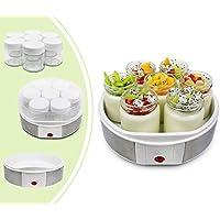 Leogreen - Yogurtiera, Macchina Per Yogurt Fatto In Casa, 7 vasetti, 23 x 23 x 12 cm, Bianco, capacità barattolo: 0,21 L