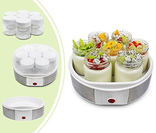 Leogreen - Yogurtera, Maquina para Hacer Yogur Casero, 7 tarros, 23 x 23 x 12 cm, Blanco, Capacidad por frasco: 0,21 L
