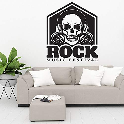 guijiumai Schädel kopfhörer Zeichen Musical Dekoration Rock Musical Festival Club Deco DIY wandkunst Vinyl Aufkleber tapete rot 57x66 cm (Club Priority)