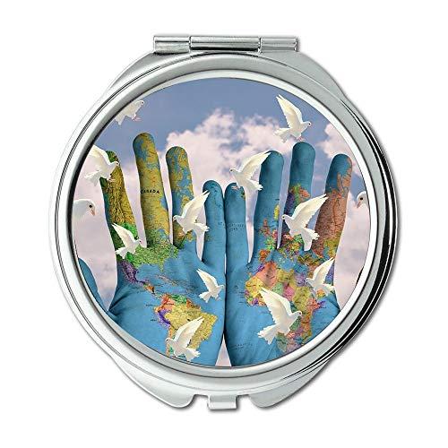 Yanteng Spiegel, Erde Make-up Spiegel, Welt Harmonie Kontinente Erde Hoffnung Frieden Make-up Spiegel, Taschenspiegel, Tragbare Spiegel