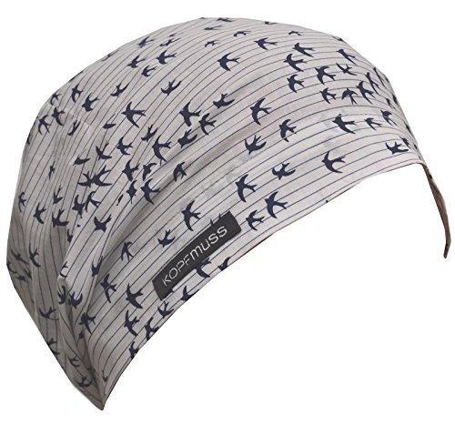 Kopfmuss - Unisex Superleichte Sommermütze KoS1143 - M, Schwalben Weiss Nachtblau (Glatze-mütze)
