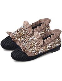 2017 Moda Americana Americana Zapatos de los Planos de Las Mujeres con Encanto de Lentejuelas decoración Mujer Zapatos Casuales de Verano Solo - Caqui 38