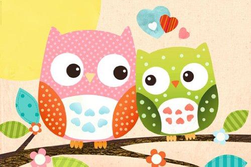 Poster Süße Eulen auf Ast Eule Sweet Owl Kinderzimmer Kind Comic bunt Liebe - Größe 61 x 91,5 cm - Maxiposter