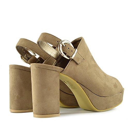 Kick Footwear - Donna Tacco, Platform Slingback Scarpe Aperte Peep Toe Cinturino alla Caviglia Sandali Moka HWP1