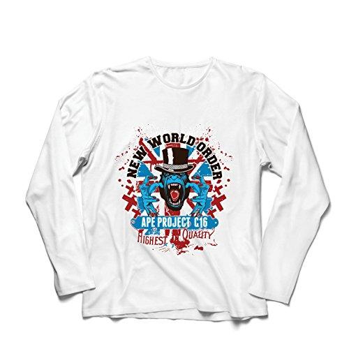 lepni.me Langarm Herren T Shirts Neue Weltordnung - politischer Widerstand, Protestkleidung (Medium Weiß Mehrfarben)