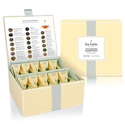 Coffret d'assortiment de dégustation de thés Tea Forté avec 40 infuseurs de thé de forme pyramidale faits main - Thé noir, tisane, thé Oolong, thé vert, thé blanc