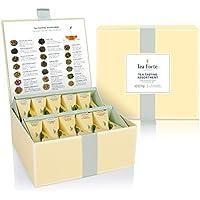 Caja de Té Surtido de Degustación 40 infusores de Té con Forma de Pirámide Hechos a Mano de Te Forte - Té Negro, Té de Hierbas, Té Oolong, Té verde, Té blanco