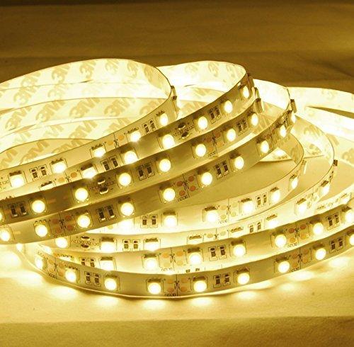 Minger Flexibel LED Streifen 5050 SMD 300 LEDs 5M/16.4ft LED Lichtband, Warmweiß, Nicht Wasserdicht IP20 LED Lichtleisten mit RF Dimmer Fernbedienung und 12V 5A Netzteil [Energieklasse A+] Wandleuchte Home Theater