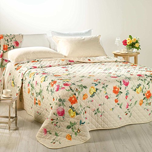 Elegante e raffinato trapuntino copriletto trapuntato italian garden letto matrimoniale caleffi stampa digitale