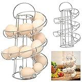 Popamazing Chrome Plated 18 Eggs Spiral Stylish Rack Holder Eggs Storage