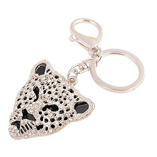 Cdet Schlüsselanhänger Kristall Leopard Schlüssel Kette Legierung Kreativ Rucksack-Anhänger Auto Schlüsselbund Schlüsselkollektion Keychain Schmuck Schlüsselringen ,1 Pcs (Silber) (Haken Leopard)