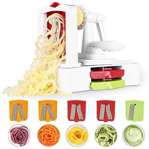 Fixkit Coupe Légumes Spirale, avec 5 Lames Interchangeables...