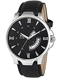 Watch Me Day Date Collection Black Dial Black Leather Strap Watch For Men And Boys DDWM-045