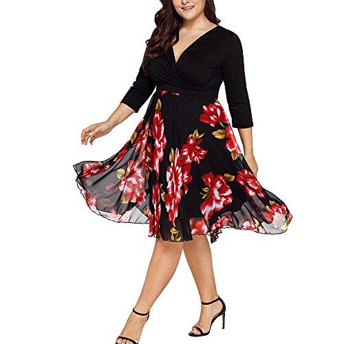 VEMOW Plus Size Elegante Damen Frauen Casual Kurzarm Kalt Schulter Boho Blumendruck Casual Täglichen Party Strand Langes Kleid Schulterfrei Strandkleid(X2-Schwarz, EU-48/CN-2XL) -