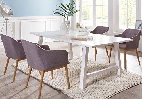 SalesFever® Tischgruppe Ando 5-teilig, Tisch 200x100 cm, weiß gebeizt, 4 x Sessel-Stühle mit Stoff-Polster hellgrau, Eiche