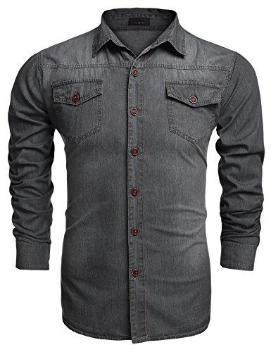 Burlady Jeanshemden Herren Langarm Denim Hemden Freizeit Shirts Regular Fit Hemden (L, A-Grau)