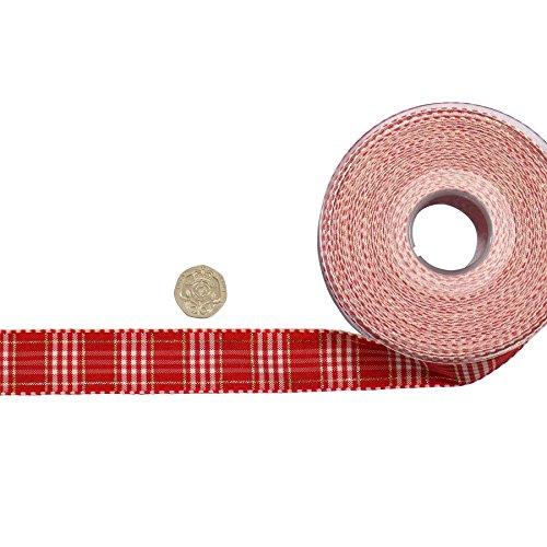 Cuadros escoceses metálico hilo rojo blanco lazo