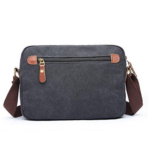 Outreo Borsa Tracolla Uomo Borse a Spalla Vintage Borsello Sport Sacchetto Viaggio Borsetta Tablet Messenger Bag per Studenti Tasche nero