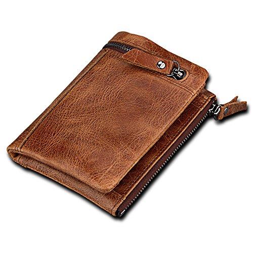 Herren Leder Brieftasche Retro Kreditkarten-Pack Doppel-Reißverschluss-Tasche Brieftasche ID / Foto Fenster 6 Karten Slot Cash Bag Coin Bag (Leder-foto-speicher-box)