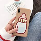 ZXZZ Für iPhone XS max babyflasche Telefon case Abdeckung case weiche silikon Cartoon Phone Cases für iPhone 8 7 6 6 s Plus xr x,Braun,Für iPhone XR