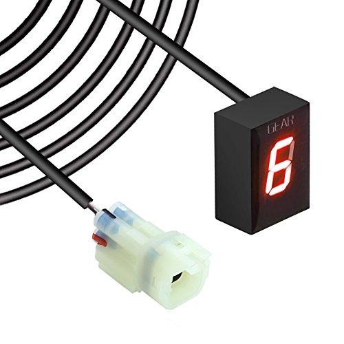 IDEA Wasserdicht 6 Speed LED Digital Anzeige Rot LED Display Ganganzeige Motorrad Schalthebel Sensor Rückseite Kabel für Kawasaki Plug & play