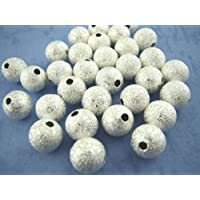 100 x Silver Plated Stardust Ball Spacer Beads 4mm - Beading Crafting Jewellery Making Findings