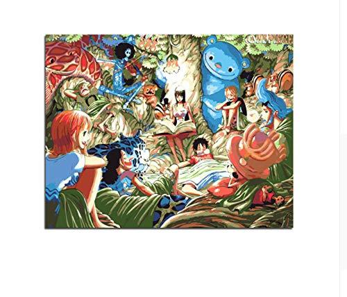 CZYYOU DIY EIN Stück Luffy Nami Zoro Usopp Sanji Chopper Brook Ölgemälde Durch Zahlen Bild Zeichnung Auf Leinwand Ölfärbung Von Hand, Ohne Rahmen, 40x50cm