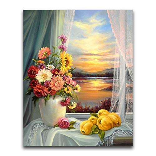 C.LLIFE DIY 5D Diamant Malerei Blume Voller Runder Diamant Mosaik Chrysantheme Stickerei Kreuzstich Fenster Vase, 40X50cm Crystal Square Vase