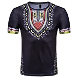 T-Shirt Africain, Malloom Chemise à Manches Courtes à Manches Courtes pour Hommes (XL, Noir(H))