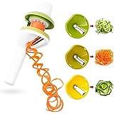 3 en 1 Rallador, Cortador de Verduras de 3 Cuchillas en Espiral Multiusos Máquina para Cortar espiral Patatas / Zanahorias / Pepinos / Zucchini / Rábano / Queso con Hojas Afiladas Mango Ergónomico 100% Garantía