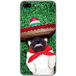 Funda con Pug mexicano para teléfonos móviles, plástico, Fiesta Mexican Sombrero Pug, Apple iPhone 7 Plus