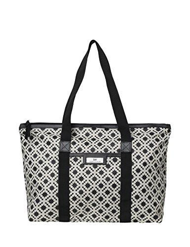 DAY et Damen Shopper GWENETH P Linger Vocation Bag mit Ornamentprint in schwarz auf cremefarbenen Grund aus strapazierfähigem wasserabweisendem Nylon - 3174475705