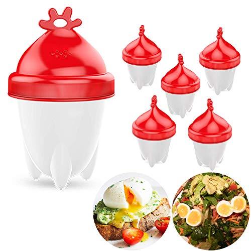 Le Destin Silicon Egg Cooker,Eierkocher Hard & Soft Maker Egg Boiler,BPA-frei,FDA Antihaft-Silikon,New Version!!!-6 Stück
