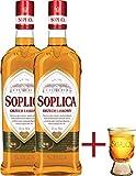 2 Flaschen Soplica Haselnuss - Orzech Laskowy 32% - 2x0.5l + Gratis Soplica Pinnchen / Schnapsglas