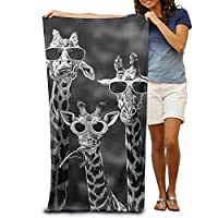 "Hiyourself Sunglass Giraffes 100% Polyester Beach Towel Chair (31"" X 51"") Thick Soft Quick Dry Lightweight Towels Blanket"