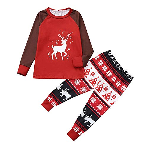 Amphia - Papa und Junge lang-Sleeved Karikatur Pyjama,3PCS Christmas Toddler Baby Cartoon Deer Print Romper+Pants+Hat Family Set Sleeved Romper Set
