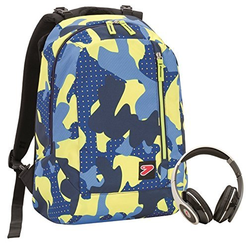 2 in 1 Zaino Reversibile - SEVEN THE DOUBLE - COLOR CAMOUFLAGE - Giallo Blue - cuffie stereo con grafica abbinata incluse!