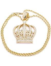 Colgante para hombre chapado en oro, diseño de corona repleta de cristales con corte diamante, incluye cadena