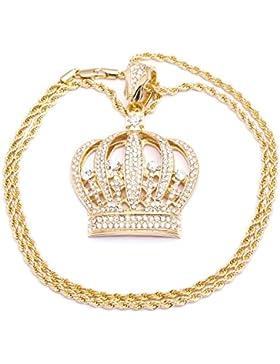 Herren Halskette, vergoldet, Kronenanhänger, mit Schmucksteinen besetzt, Diamantschliff, modisches Design, seilartige...