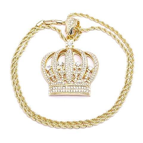 Herren Halskette, vergoldet, Kronenanhänger, mit Schmucksteinen besetzt, Diamantschliff, modisches Design, seilartige Kettenform