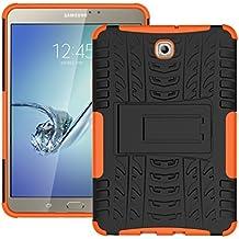 "Funda Samsung Galaxy Tab S2 8"" pulgadas(T710 715) Bumper Case Cover, KATUMO® Carcasa de Piel Funda Goma para Galaxy Tab S2 8.0"" Cubierta Protectora Funda Transparent Gel-Naranja"