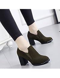 Botas Cortas Puntiagudas con Zapatos de Tacón Alto Y Zapatos de Mujer con Botas Descubiertas , verde , EUR 35.5