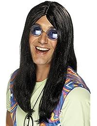 Erw. lange Hippie Perücke 60er 70er J. Kostüm Party Hippieperücke schwarz blond