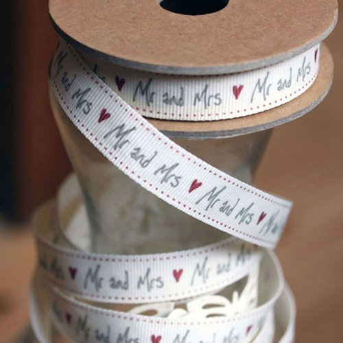 East of India Mr and Mrs Ribbon italics 3 meter for weddings off white / cream