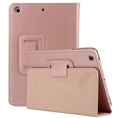 Mini Thin Folio Case Ultra 3 Ipad (iPad Mini1/2/3 Hülle und Cover, TechCode Premium Folio Hülle Bucheinband Design Multi Angle Viewing Slim Fit Leichte Ultra Thin Ständer Smart Case Hülle für iPad Mini 1/2/3 (Rose Gold))