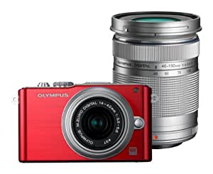 Olympus PEN E-PL3 Twin Lens Kit 12.3MP Mirrorless System Camera (Red) with SD Card and PEN Camera Bag